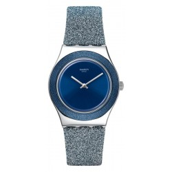 Swatch Damenuhr Irony Medium Blue Sparkle YLS221